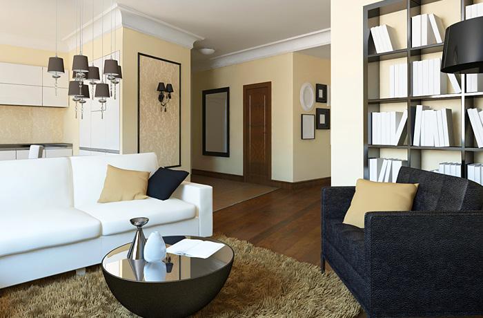 Дизайн гостиной комнаты: Фьюжн