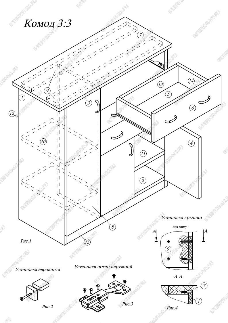 Схема сборки углового комода